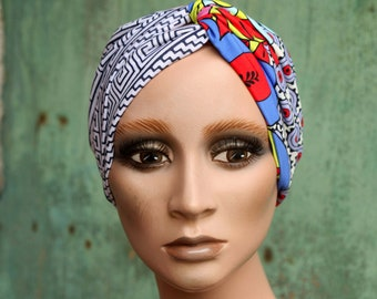Bandeau-Turban in cotton jersey, Bicolore Fresque Art Deco and Graphic Patterns, Headband women's hairstyle accessory.