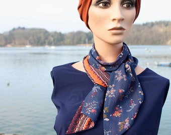 Scarf, Lavallière, Cravate Femme, Bleue and Orange with Flowers in Mousseline de Viscose. Wool Tartine