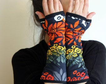 Long Mitaine with Floral Patterns, Large Orange Flowers, Yellow, Green in Cotton Jersey. Stretch fabric lined mitten
