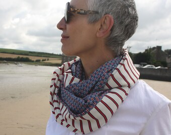 Infinite scarf or stole Woman Blue White red with Stripe and Rosette, retro marine style. infinite scarf