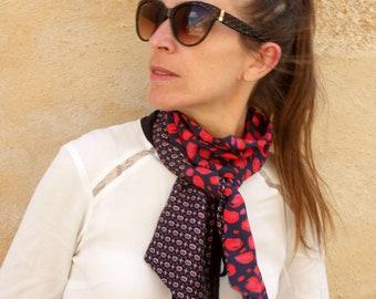 Foulard, Lavallière, Cravate Femme, Bicolore Bleu Marine-Rouge Look rétro Cravate en Coton-Viscose