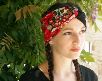 Red and black headband-Turban in Jersey cotton and cotton flowers. Two-tone hair headband