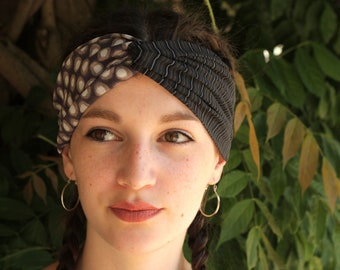 Turban headband with polka dots and stripes taupe-Black-Brown viscose and lycra Jersey. Two-tone hair headband