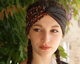 Headband-Turban patterned ethnic Brown autumn colors. Original hairstyle Jersey headband