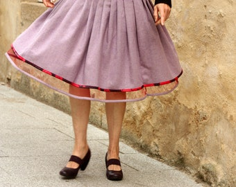 Sheet of wool Chevron purple and Red tulle skirt. Rock Rockabilly Swing skirt. Pin-up winter skirt
