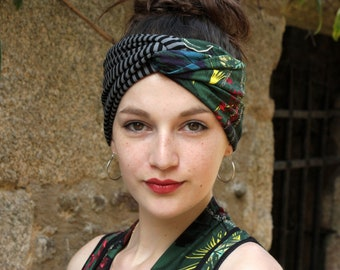 Headband headband - Turban two-tone foliage and stripe Cotton Jersey. Retro Turban hair