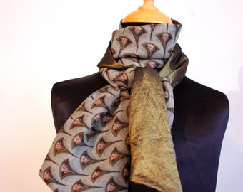 Scarf, Ascot, tie women, bicolor patterns Art deco and old green taffeta. Slice of wool