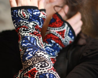 Mitten long ethnic Arabesque, blue red.. Women's mittens gloves in cotton. mittens woman