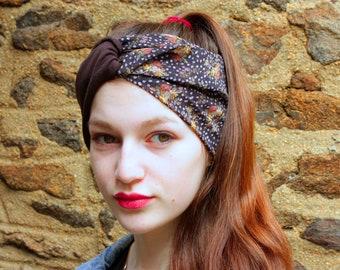 Headband, Turban, hair two-tone Retro floral satin, soft purple Viscose with Jersey Brown grey