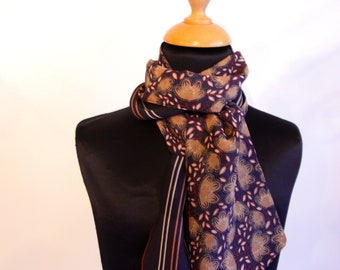Navy stripes and purple flowers women scarf. Slice of wool
