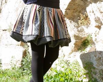 Skirt fabric Jacquard Tan-Orange-white ball. Woman ball skirt. Slice of wool