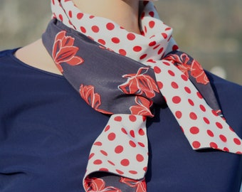 Women's white and Navy Blue scarf with polka dots and Red bow, nautical style. Slice of wool
