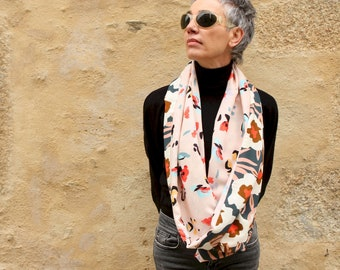 Infinite scarf or flower stole in pastel tones Orange Green ... cotton and Viscose. Infinite lightweight scarf.