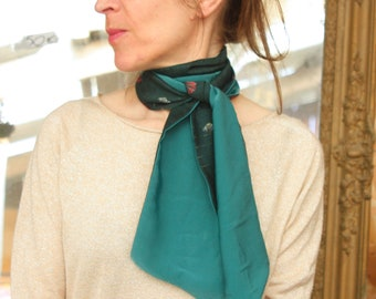 Scarf, Ascot, tie women, emerald green and coral Ginkgo flowers and gold