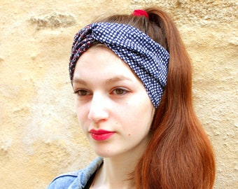 Headband hair Retro blue white Viscose and Jersey blue-Brown bubble dots. Headband