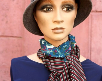 Long scarf, Birds and stripes, Red Blue and Black. Retro women's lavallière in Acetate and Cotton. Light scarf.