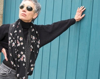 Infinite scarf or black stole with Flowers and Patterns Quadrillé in Muscose Mousseline . Infinite lightweight scarf.