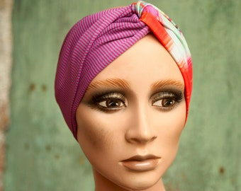 Bandeau-Turban with stripes and Violet patterns, pink and green in soft and stretch Lycra. Headband woman hair