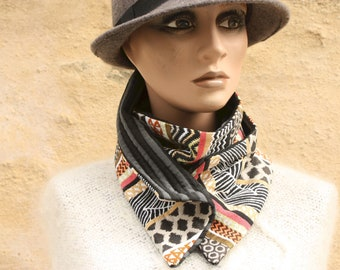 Button collar, Jacquard Patterned collar Black-yellow-Orange-White-Grey pattern and striped interior. Collar winter woolly scarf and cotton.