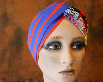 Bandeau-Turban Stripe Marin and Multicolored Patterns in Jersey Cotton. Headband Yoga .