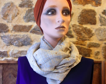 Stole, infinite chiffon scarf with Quadrillé, blue/beige/brown patterns. Silk scarf