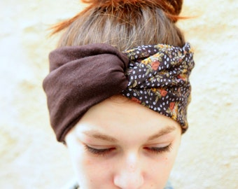 Headband, Turban, Retro Hairstyle Bicolore Fleuris Plumetis, Grey Violine in Viscose and Jersey Brown. Tartine de Laine