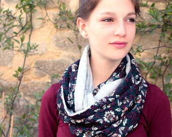 Snood, stole-shawl, Baroque Burgundy-green-black-grey cotton scarf. Slice of wool