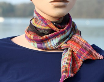 Scarf, Lavallière, Women's Floral Tie and Multicolored Stripes in Mousseline by Viscose.Node Butterfly Vintage Woman