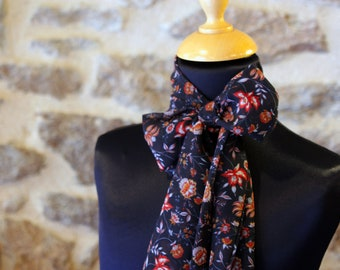 Scarf, Lavallière, Blue Marine Woman's Tie with Rust Flowers in Mousseline by Viscose.Node Butterfly vintage woman