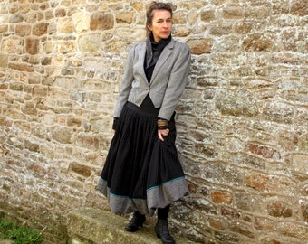 Long Ball skirt in Black Wool stripe White and Tweed .  Long Ball Skirt Creation Laine Tartine