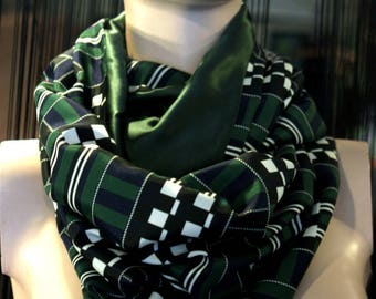Stole-shawl, scarf in plaid checkered Green-Black-White-Navy Vintage spirit. Slice of wool