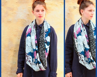 Stole-shawl infinity scarf black-white-purple polka dots and flowers. Shoulder cover