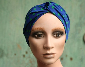 Blue woman headband-Turban in Green Peas. Headband original hairstyle in Lycra jersey. Tartine de Laine
