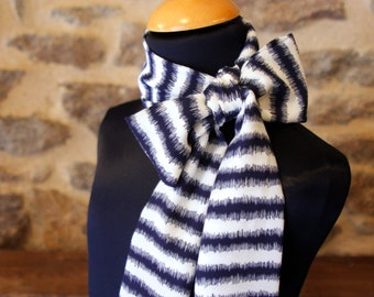 Striped scarf Navy Blue and white Viscose crepe. women vintage scarf