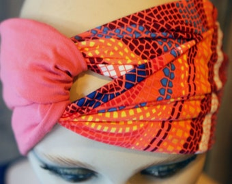 Pink and Orange Turban-style hair band, Lycra and cotton bicolore. Tartine de Laine woman's headband