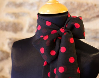 Scarf, Lavallière, Black Woman's Cravate with Red Peas in Mousseline by Viscose.Node Butterfly vintage woman