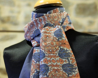 Scarf, Ascot, tie women, blue Orange gold Thistle flowers blue. Hippie Chic. Slice of wool