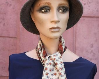 Lavallière scarf woman Peas and Foliage Fauve Black Brown . Men's/woman Laine Laine Tartine