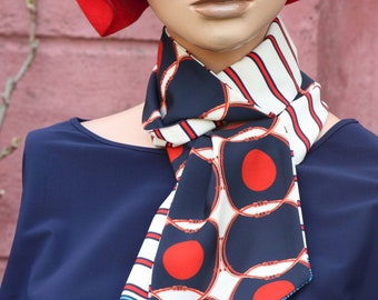 Long and Fine Scarf, Lavallière Femme, Red White- Blue Stripes and Windows in Viscose and Acetate. Vintage Style scarf