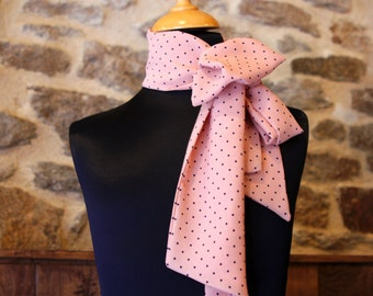 Scarf, Lavallière, Cravate Femme, Rose Salmon, point Black in Crepe from Viscose.