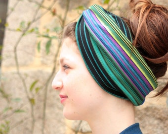 Headband-Turban style Retro bicolor Bayadere stripe and blue Jersey cotton. Headband