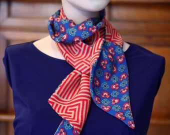 Scarf red and blue flowers woman scarf spring mid season woman. Slice of wool