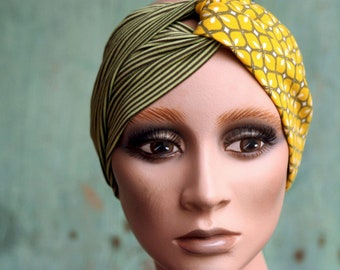 Turban-style band Green Striped Grey and Anis Green with Rose Patterns. Women's headband in Jersey Cotton