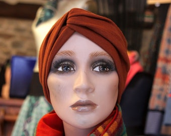 Plain brown copper Jersey cotton and wool headband headband. Retro Turban headdress. Women hair accessories. Slice of wool in autumn