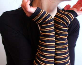 Mitten black stripe gold Lycra. Fingerless gloves women. Black evening gloves