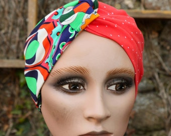 Bandeau-Turban Crossed Woman , Bicolore Rouge Point White and Psychedelic Patterns Multicolored Green in Jersey Cotton. Headband Yoga.