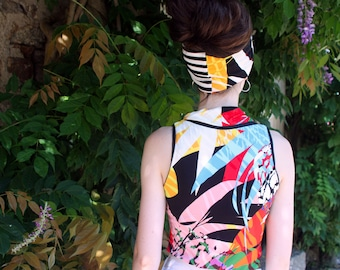 T Shirt tank top, graphic and colorful. Sleeveless Cotton Jersey top. Slice of wool