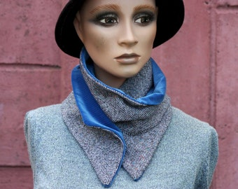Button collar, collar scarf In Tweed de Laine and Velvet, Tweed Black Grey Moucheté and Blue Velvet. Winter scarf collar.