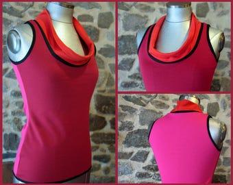 Tee shirt sleeveless tank top, tricolor pink raspberry-fuschia-orange. Jersey cotton