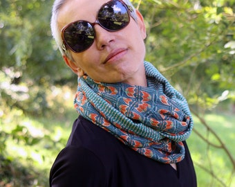 Infinite scarf or stole woman Flowers orange-green and turquoise green mousseline, original infinite scarf. Tartine de Laine